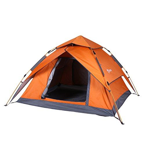 Sekey ワンタッチテント 折りたたみ 3~4人用 200*230 設営撤収簡単 高耐水加工 紫外線カット UVカットコーティング 遮熱 キャンプテント 2Way 2色 orange
