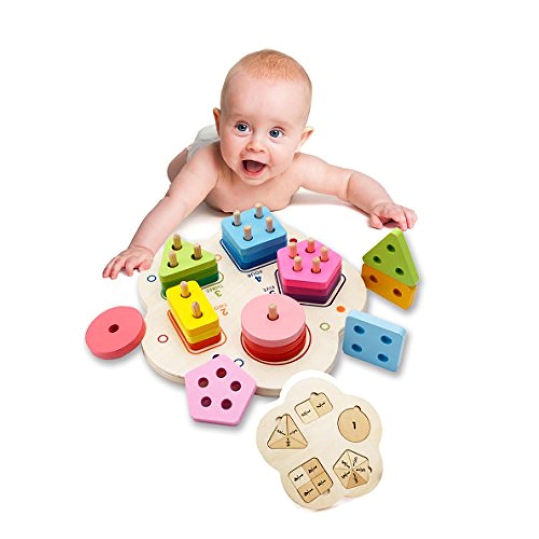 モンテッソーリ数学木製玩具組み立てるカラフル幾何図形ブロックカラー&シェイプ子供の初期の教育玩具