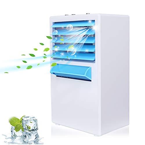 冷風扇風機 卓上冷風扇 霧化式 ミニエアコンファン 冷却 加湿機能搭載 風量...