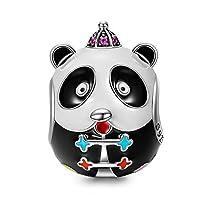 NinaQueen「カンフー・パンダ」925スターリングシルバーAAA CZマルチカラーエナメル動物ビーズcharms-happyファミリ