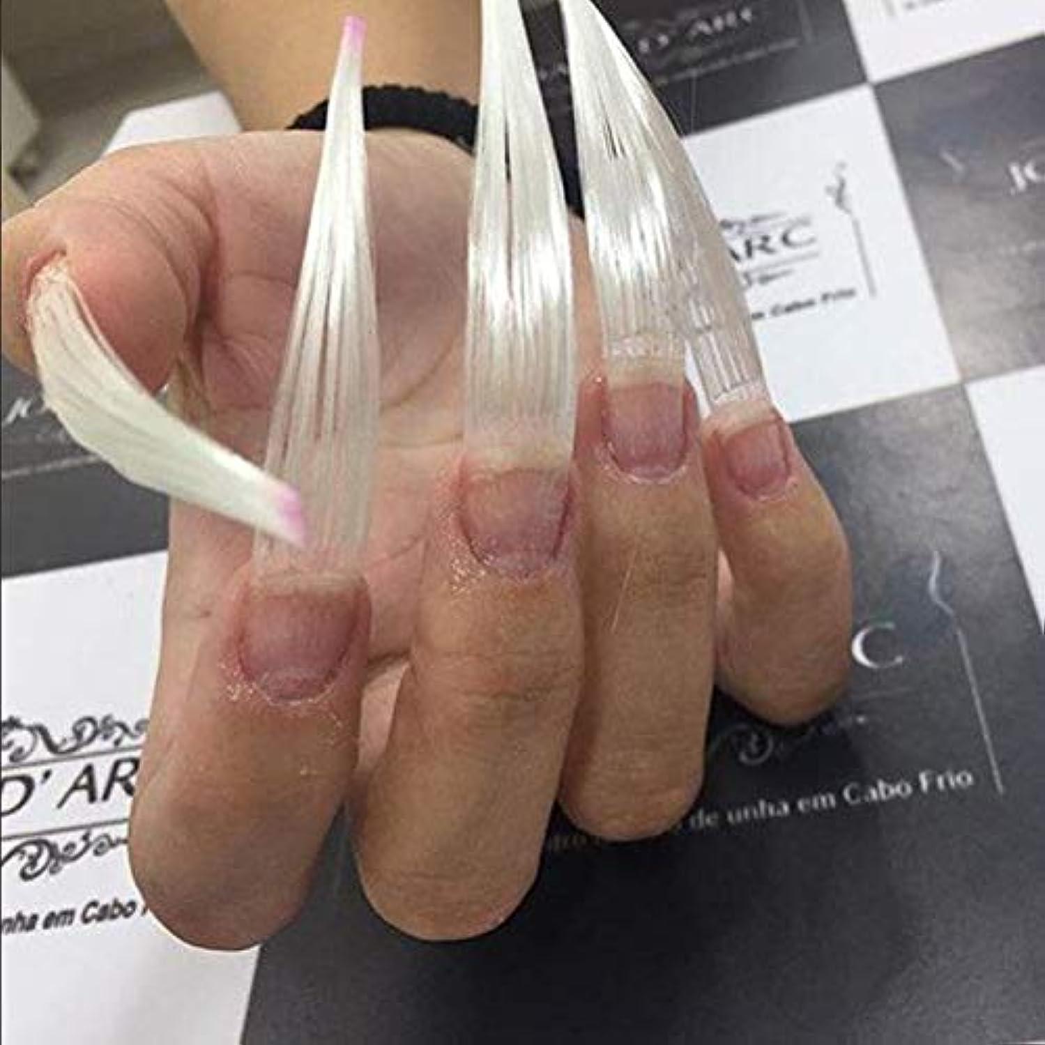 コンサート夫付録Maxbei 50枚入りネイルエクステンション用グラスファイバー 延長繊維ネイル 及び 5個入り爪のクリップ ネイルアートツール