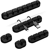 Cable Clips, 5 Packs Cable Management Cord Organizer, Self Adhesive Cord Holder for for USB Cable/Power Cord/Wire, Car and De
