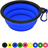 Zenify Dog Bowl - 400ml Collapsible Foldable Food and Water Feeder Dish - Portable Travel Leash Lead Slim Accessories for Training Pets Puppy Dogs (5 inches / 12.7 cm) (Blue/Black)