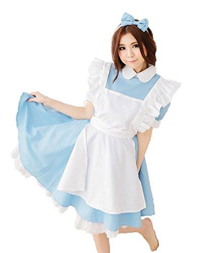 ふしぎの国のアリス アリス風 メイド服セット (ワンピース + エプロン + カチューシャ) コスチューム レディース フリーサイズ