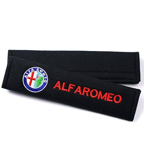 Alfa Romeo アルファロメオ シートベルト パッド カバー 2個セット ブラック [並行輸入品]