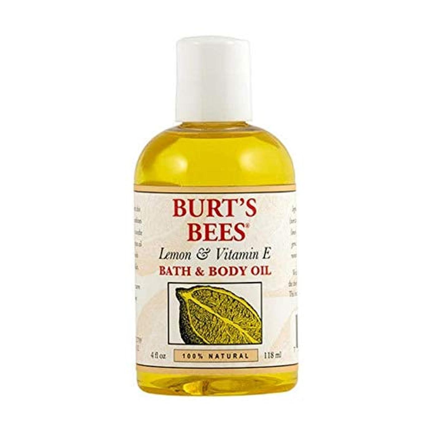 を通してまたね猫背[Burt's Bees ] バーツビーレモンとビタミンE体とバスオイル115ミリリットル - Burt's Bees Lemon and Vitamin E Body and Bath Oil 115ml [並行輸入品]