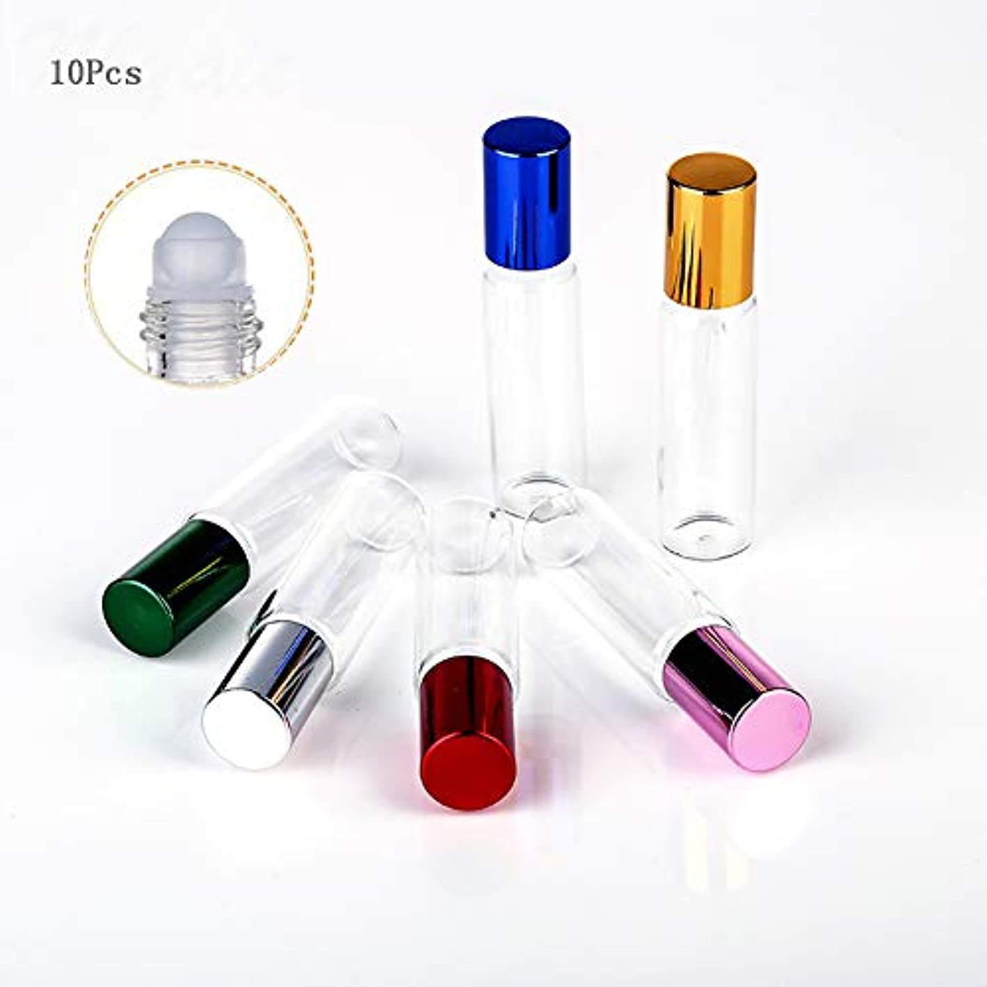 マート主導権スロットロールオンボトル アロマ ガラス容器、アロマテラピーのための10ml充填可能な透明なガラス瓶、エッセンシャルオイル10個