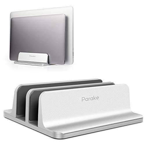スタンド ノートパソコンスタンド pcスタンド 縦置き アルミ MacBook/iPad/laptop/タブレット 調整可能 (シルバー, 2台収納)