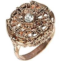 Amber Rose Filigree Crystal Ring