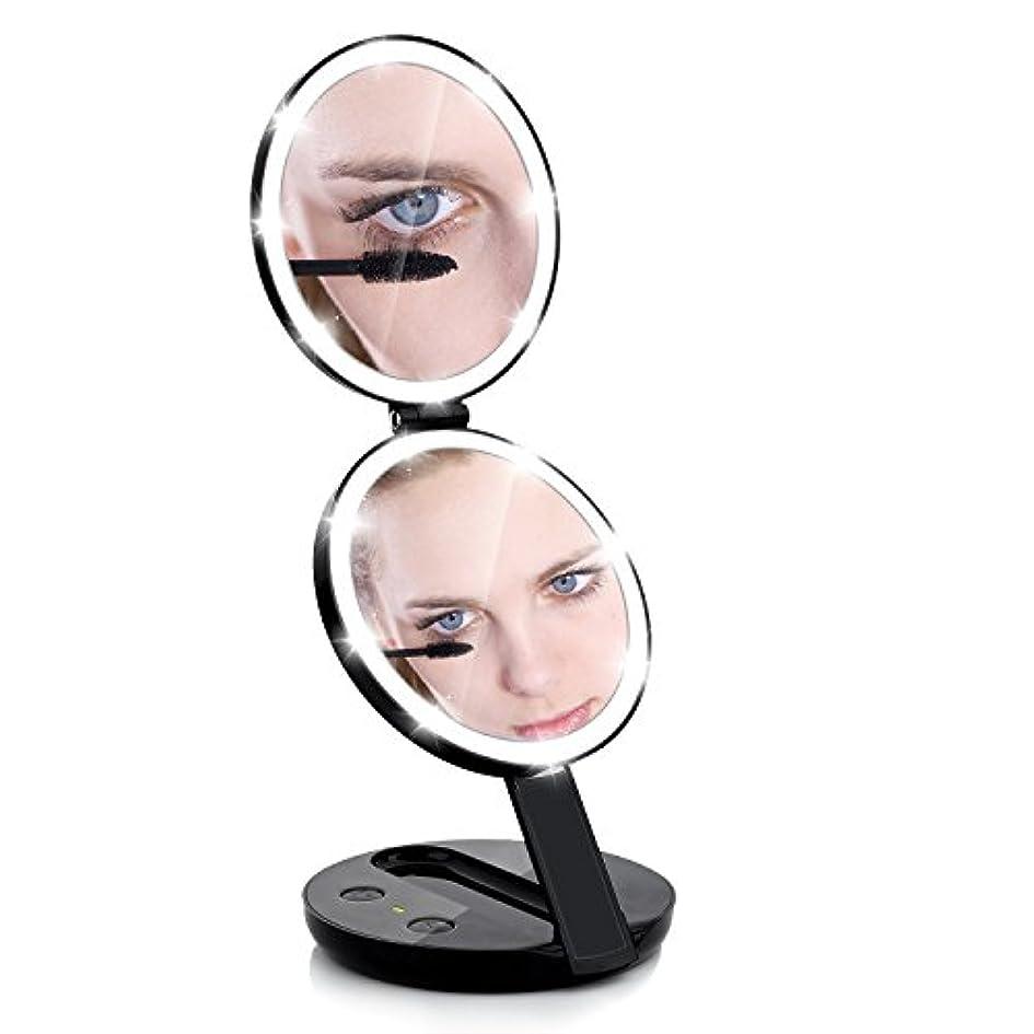 飛行機高音代数化粧鏡 電池給電 二面鏡 手鏡 ミラー 10倍拡大鏡 折り畳み式 等倍鏡 かがみ 丸型 女優 おしゃれ ハンド コンパクト 携帯ミラー (Black)
