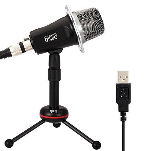 Tonor USB 単一指向性 コンデンサー マイク 高音質 カラオケ 録音 宅録 会議 生放送 ブラック TN494BL
