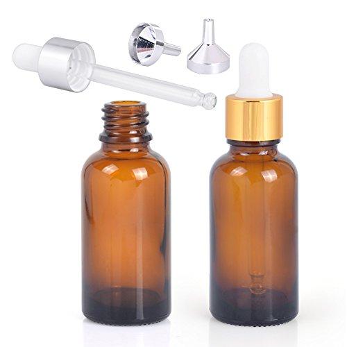 (ミュブ)MUB 遮光瓶 香水瓶 精油瓶スポイト 化粧容器 30ML 詰め替え漏斗2個付き 金蓋+銀蓋組み合わせ (2個セツト)