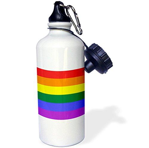 ローズWB _ 37605 _ 1レインボーフラッグGay Lesbian Prideアイコンスポーツウォーターボトル、21オンス、ホワイト