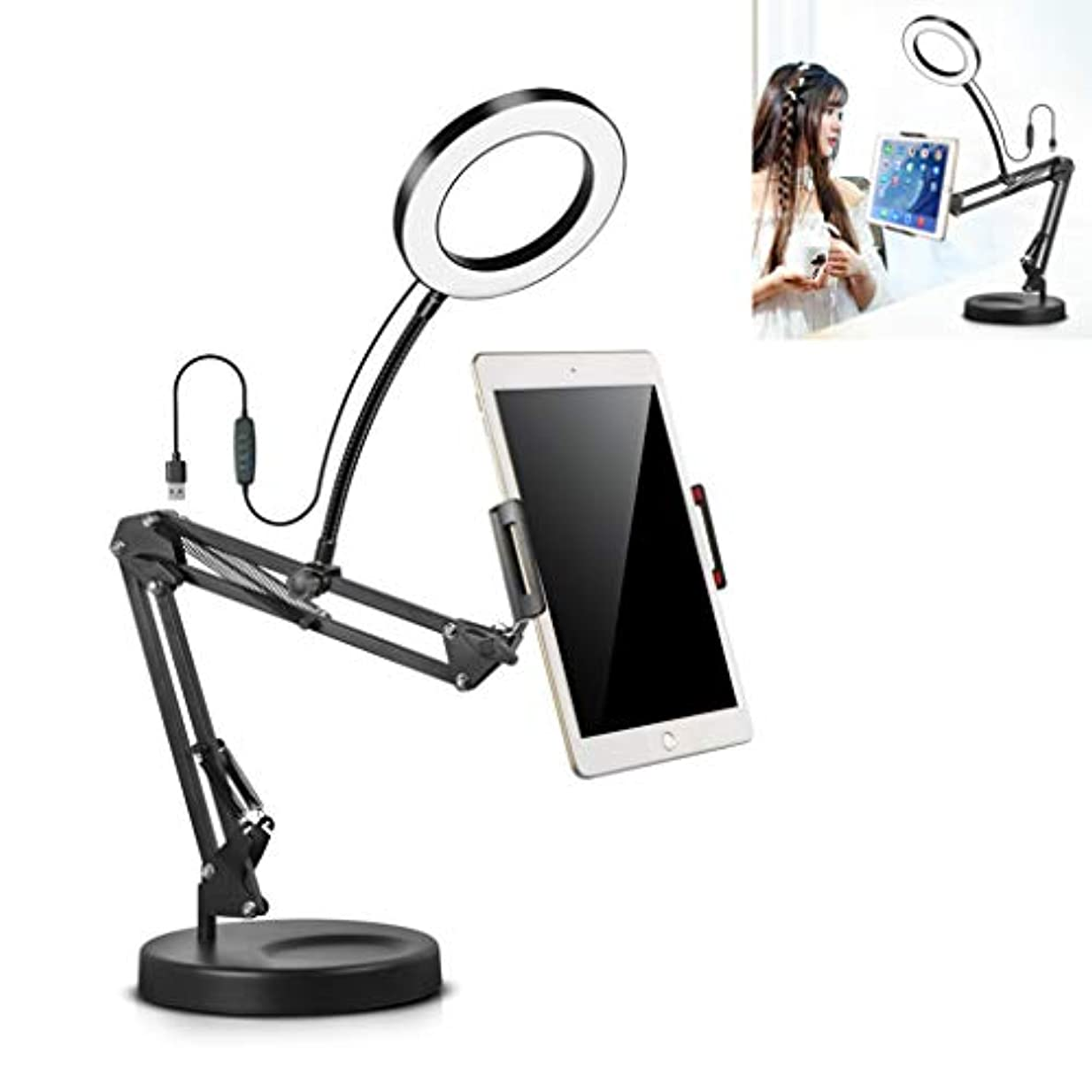 反対につまずくさまようスタンド付きLEDデスクトップリングライト、タブレットPC&携帯電話のUSB電源テーブルランプのための調節可能なホルダー,26cm