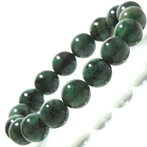 濃いめ高級天然石5月誕生石 エメラルド 13mmUP珠パワーストーンブレスレット(女性LLL.男性LL.size)