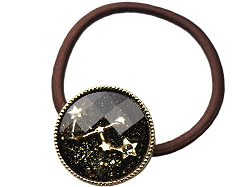 ホロスコープ星占いモチーフ クリスタルコンチョ ヘアゴム (おとめ座 ブラック)