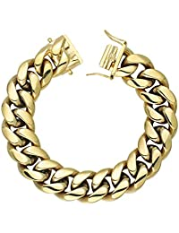 GOLD IDEA JEWELRY 14K Gold Plated Miami Cuban Link Chains Hip Hop Necklace with Stainless Steel Clasp for Men 12mm-20mm