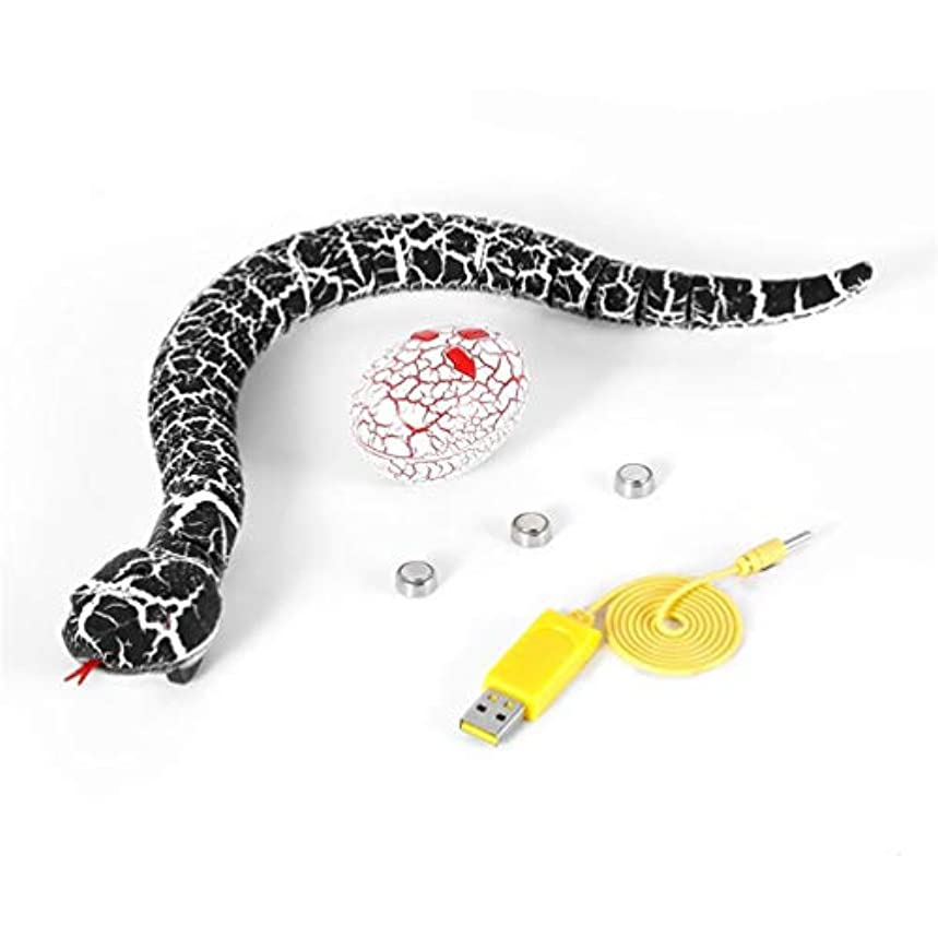 に付ける餌死すべきノベルティサプライズ実用的なジョークRC機のおもちゃリモコン蛇と卵のラジオコントロール面白いおもちゃギフト用子供 - ブラック&ホワイト