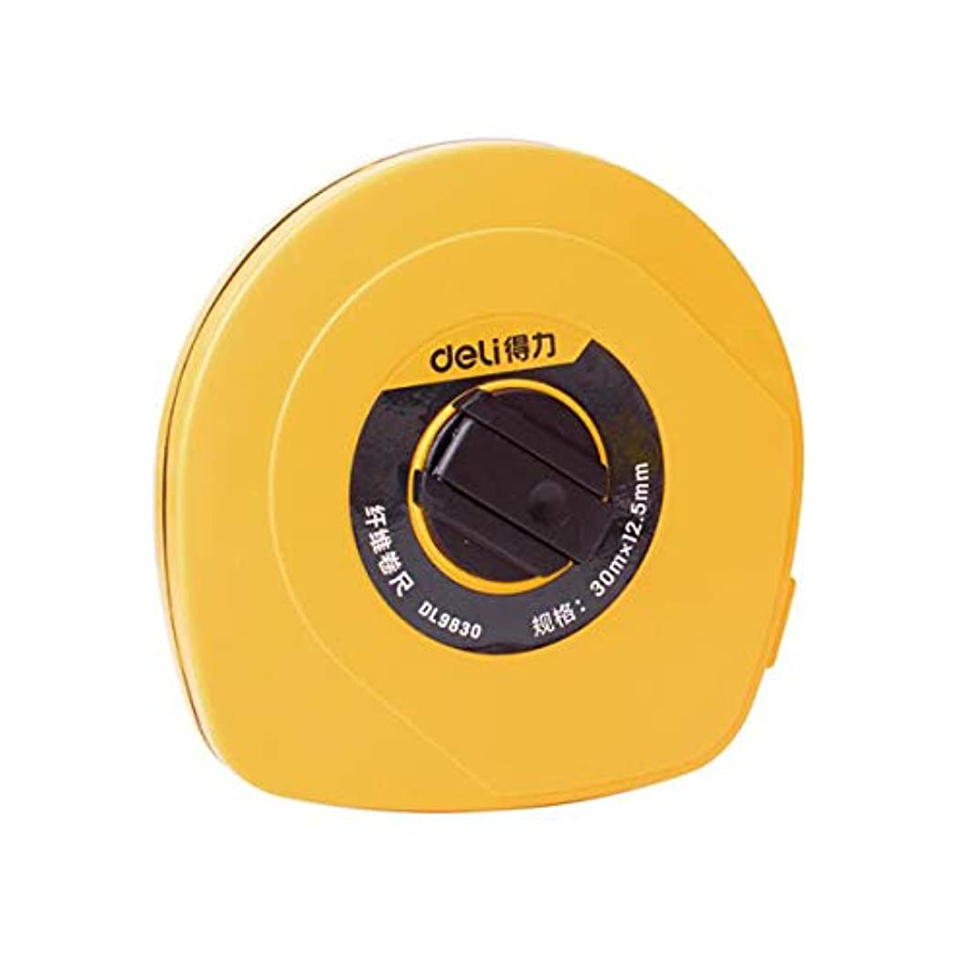 ボウリング白菜アリーナKUQIQI ルーラー、20/30/50メートルファイバールーラーファイバーカセットテープメジャー遊び場ディスクタイプテープメジャーテープスケールルーラーエンジニアリング測定ツール20メートル* 12.5ミリメートル (Color : Yellow, Size : 30m)