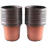 KINGLAKE 100 Pcs 4 Plastic Plants Nursery Pot/Pots Seedlings Flower Plant Container Seed Starting Pots