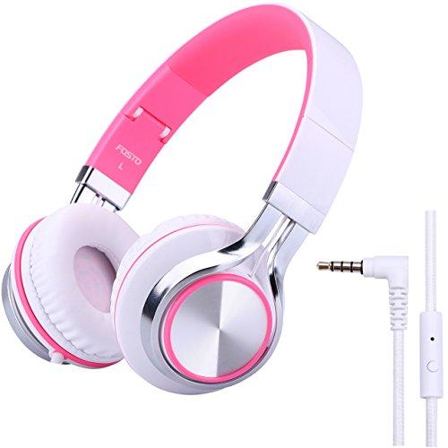 子供用 ヘッドホン FOSTO FT58 キッズ用 ヘッドホン ステレオ 折りたたみ式 ヘッドホン マイク付き MP3 携帯 ゲーム機 (ピンク)