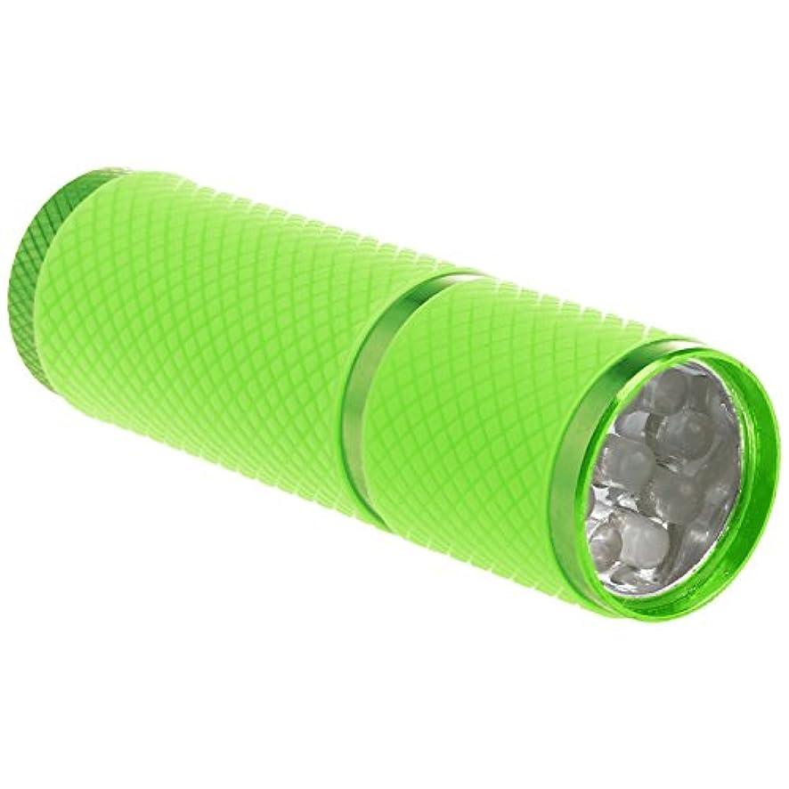 オリエンテーションコーナー蒸気SODIAL 1個 ミニ9 LED Uv ゲル硬化ランプ バッテリーなし 携帯性ネイルドライヤー LEDフラッシュライト通貨検出器 アルミニウム合金 グリーンカラー