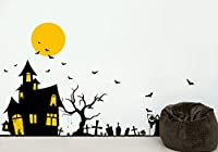 PopDecors - Halloween Ghost House Decals - Beautiful Tree Wall Decals for Kids Rooms Teen Girls Boys Wallpaper Murals Sticker Wall Stickers Nursery Decor Nursery Decals PT-0184 by Pop Decors