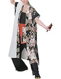 【よさこい衣装?袢纏?法被】おどり袢天 白/黒 花柄 B8513