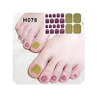 DIY 3D足の爪ステッカーグリッターマーブリング爪は防水ネイルパッチ爪箔ラップ、H078ストリップ