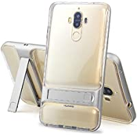 Huawei Mate8 Foldable Stand Case, Very Light Slim Clear Back Shiny Bumper Style, WEIFA 2018 Newest Super Cool Protection Armor CellPhone Cover Case For Huawei Mate 8 Silver