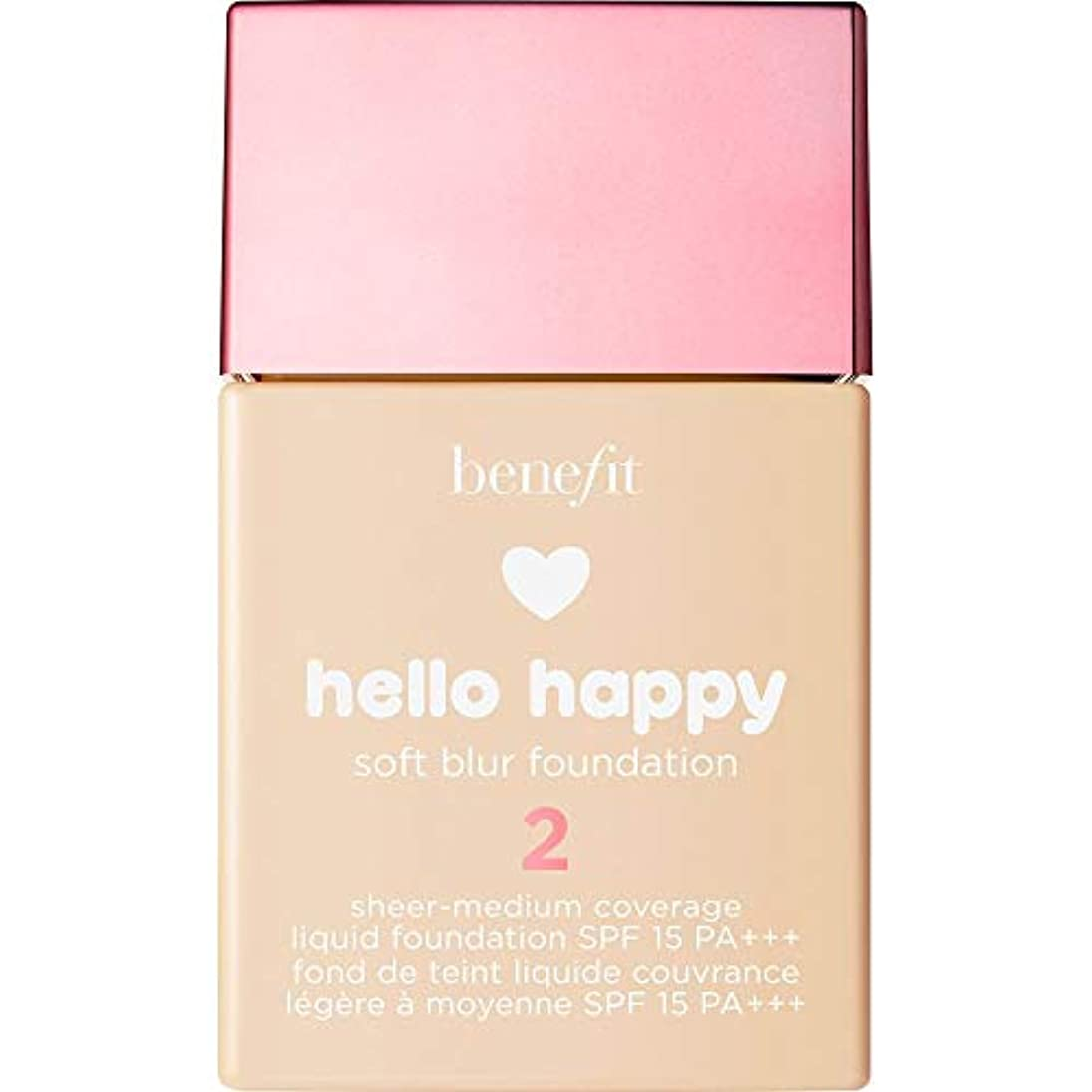 塗抹ガイダンスうまくやる()[Benefit ] こんにちは幸せなソフトブラー基礎Spf15 30ミリリットル2に利益をもたらす - 暖かい光 - Benefit Hello Happy Soft Blur Foundation SPF15 30ml...