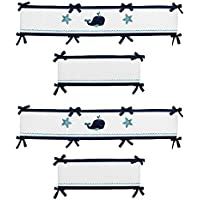 Sweet Jojo Designs Crib Bumper Pad for Blue Whale Collection Baby Boy or Girl Bedding [並行輸入品]