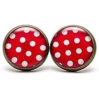Polka dot Stud Earrings Red Polka Dots Jewelry Red White Dots Earrings Retro Polka Dots Earrings Dainty Red Dots