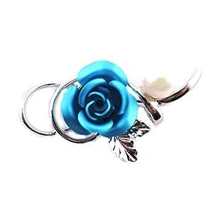 [イスズエムエスジェイ] ISUZU MSJ タックブローチ アコヤ バラ 花びら色付 葉っぱ ブルー 4978-BL