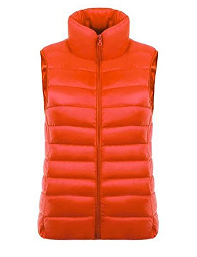 Micmall Women 's Fall Lightweight Down Packable Pufferパフォーマンスベスト カラー: オレンジ