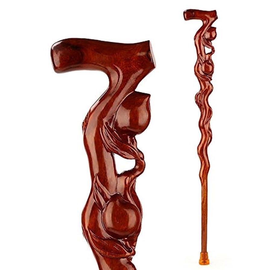 運賃ふくろう贅沢なステッキ杖红木で絶妙な木彫りクラフト