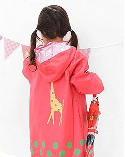 moturahimeキッズレインコートかわいいどうぶつ柄3種類赤Mサイズ