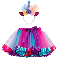 FUNNA Tutu for Toddler Girls Rainbow Layered Ballet Skirts with Unicorn Costume Headband