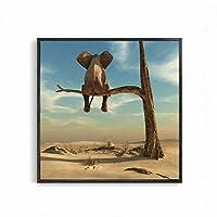 XKHSD 面白い象にツリー現代ミニマリストキャンバス絵画ウォールアート写真北欧ポスターと版画家の装飾部屋の装飾なしフレーム