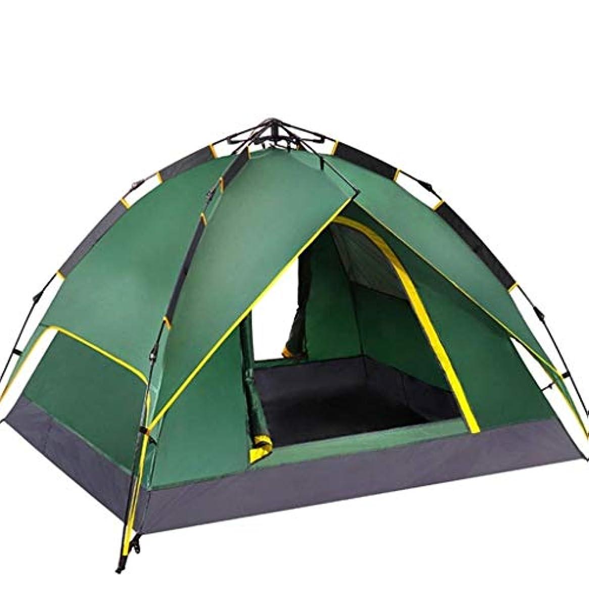 モンキー致死関数ドームのテントのキャンプテントをセットアップすること容易な自動防水おおいのテント3-4人 (Color : Green)