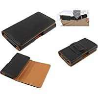 DFV mobile - Case belt clip synthetic leather horizontal premium for => TRONSMART TS7 > Black