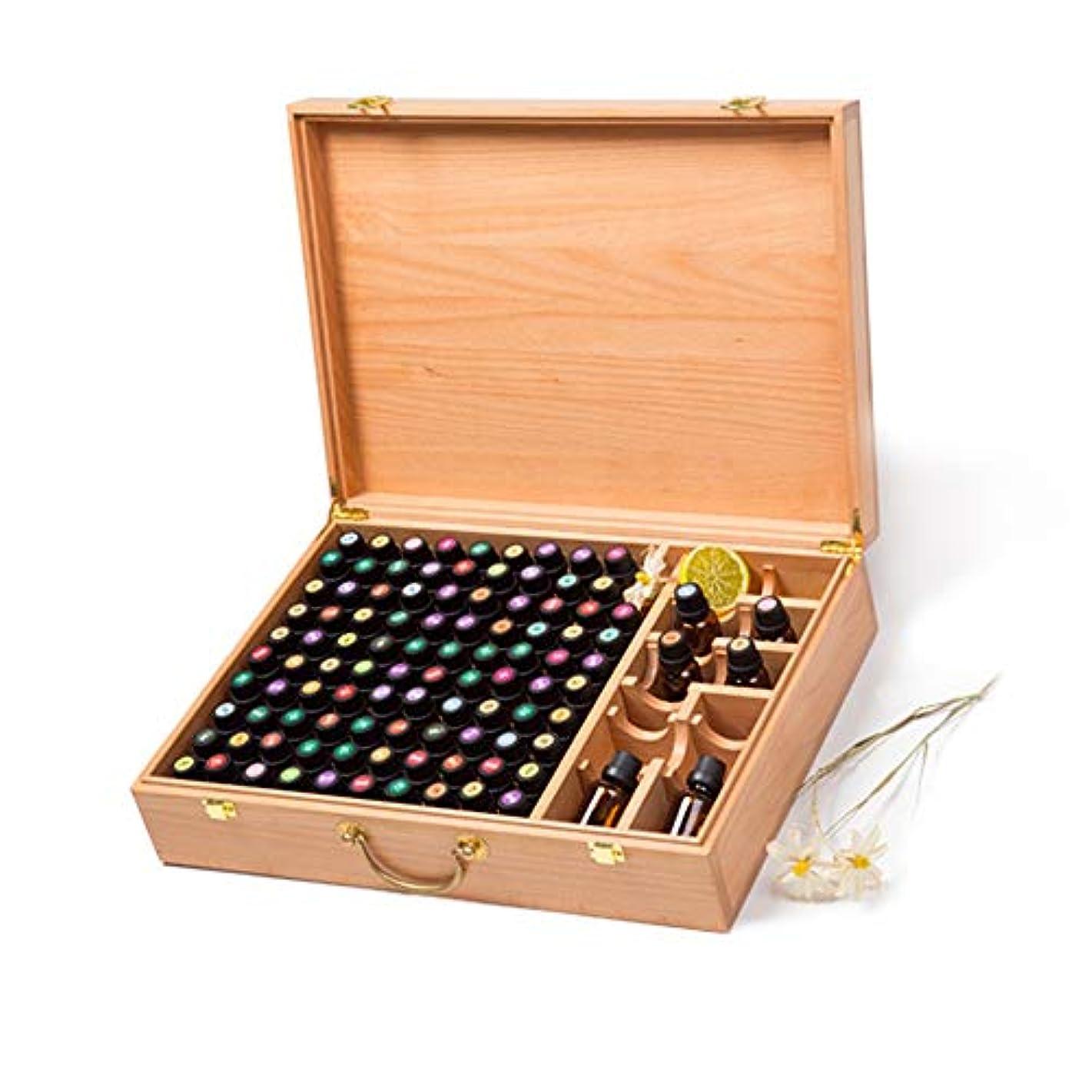 堂々たる付ける束ねるハンドルパーフェクトエッセンシャルオイルのケースでは手作りの木製エッセンシャルオイルストレージボックスは100の油のボトルを保持します アロマセラピー製品 (色 : Natural, サイズ : 44X31.5X10.5CM)