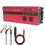 カーインバーター 2000W シガーソケット 車載充電器 USB 4ポート ACコンセント 3口 DC12VをAC110V/100Vに変換 (バッテリー接続コードあり)