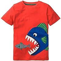 Hongshilian Kids' Cotton Striped Casual Tee Tops Shortsleeve Cartoon Appliques T-Shirt for Boys Or Girls