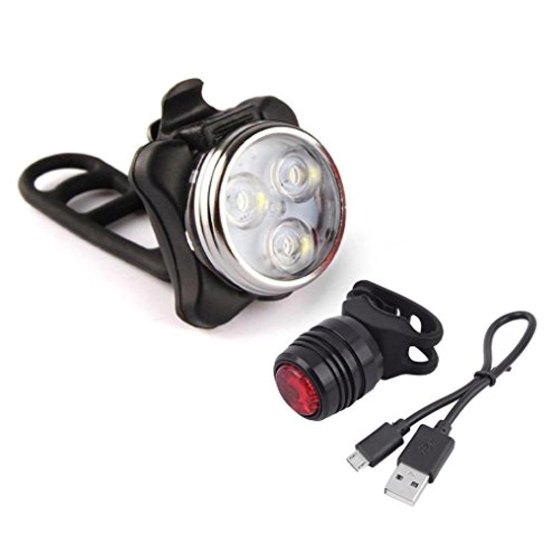 USB充電式LEDバイク自転車サイクリングヘッドライトフロントライトテールリアランプ A ブラック