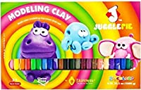 JUGGLEPIE Colourful Modelling Clay for Kids Bulk of 1kg - Art Toys for Creative Children, Soft and Easy to Mould, Non-Hardening, Non-Toxic and Never Dries Out - 24 Colour Sticks
