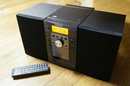 WINTECH AM/FMデジタルチューナー搭載CDカセットミニコンポ KMC-112 ブラック リモコン付属