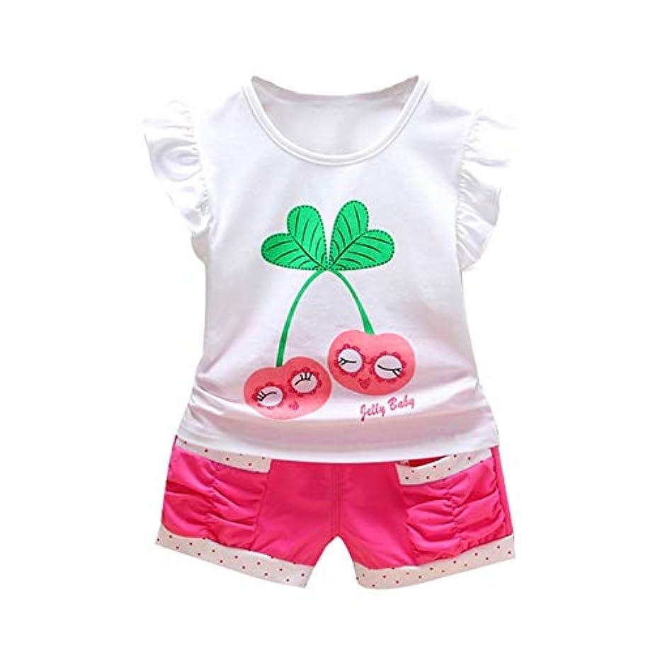 重要な役割を果たす、中心的な手段となる目に見える消えるRad子供 夏の女の赤ちゃんカジュアルフレアスリーブチェリープリントTシャツトップス+ショーツスーツコスチュームセット