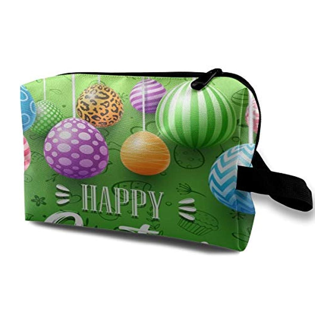 囲む影響力のある心理的Colorful Easter Eggs Decorated On Green Background 収納ポーチ 化粧ポーチ 大容量 軽量 耐久性 ハンドル付持ち運び便利。入れ 自宅?出張?旅行?アウトドア撮影などに対応。メンズ レディース トラベルグッズ