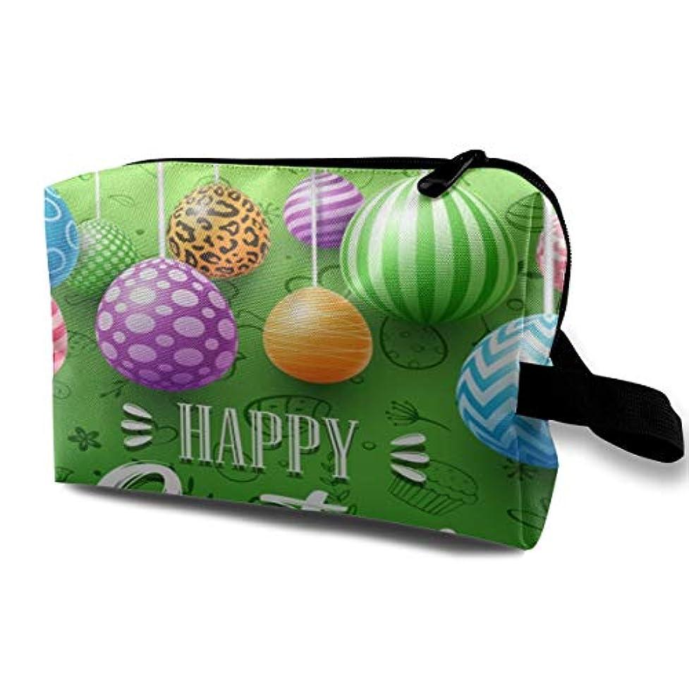 漏れおもちゃ鉛Colorful Easter Eggs Decorated On Green Background 収納ポーチ 化粧ポーチ 大容量 軽量 耐久性 ハンドル付持ち運び便利。入れ 自宅?出張?旅行?アウトドア撮影などに対応...